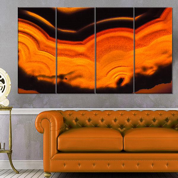Design Art Agate Macro Orange Abstract Canvas WallArt Print- 4 Panels