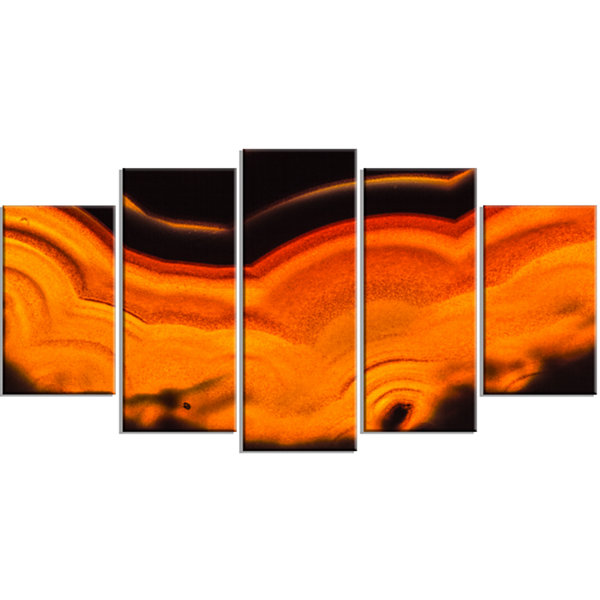 Designart Agate Macro Orange Orange Abstract Canvas Wall Art Print - 5 Panels