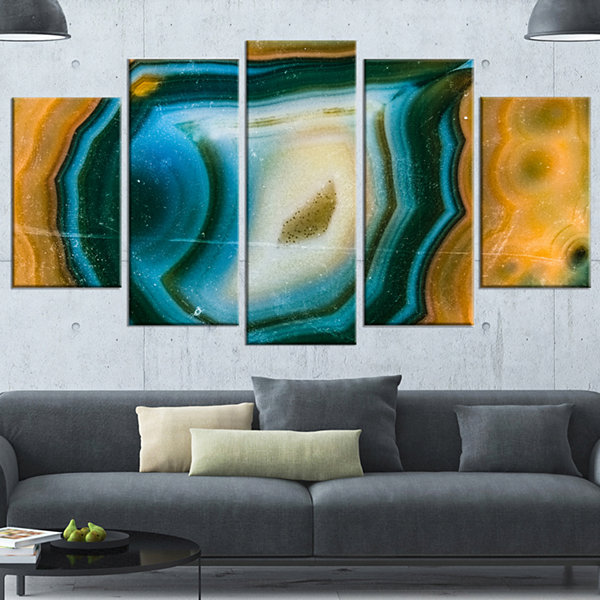 Design Art Colorful Agate Pattern Abstract CanvasWall Art Print - 5 Panels