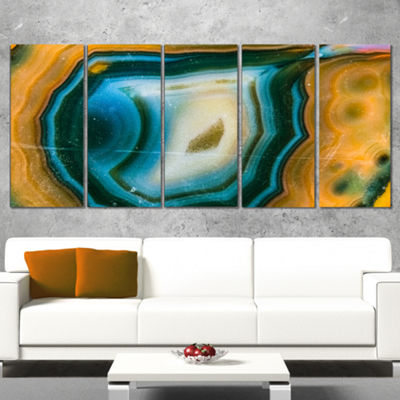 Designart Colorful Agate Pattern Abstract CanvasWall Art Print - 5 Panels