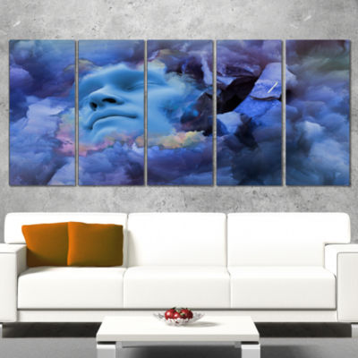 Game Of Dream Woman Sleeping Abstract Canvas WallArt Print - 5 Panels