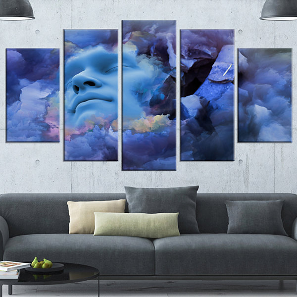 Design Art Game Of Dream Woman Sleeping Abstract Canvas Wall Art Print - 5 Panels