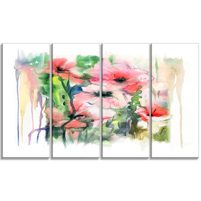 Designart Pink Floral Watercolor Illustration Large Animal Canvas Art Print - 4 Panels