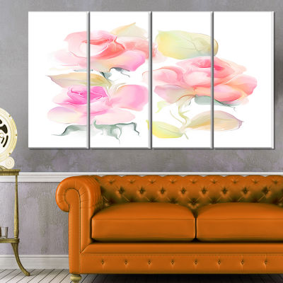 Designart Beautiful Pink Rose Flowers Large AnimalCanvas Art Print - 4 Panels