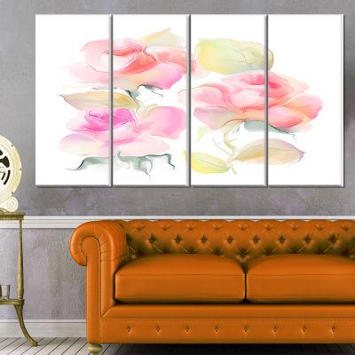 Designart Iris Watercolor Illustration Art LargeAnimal Canvas Art Print - 4 Panels