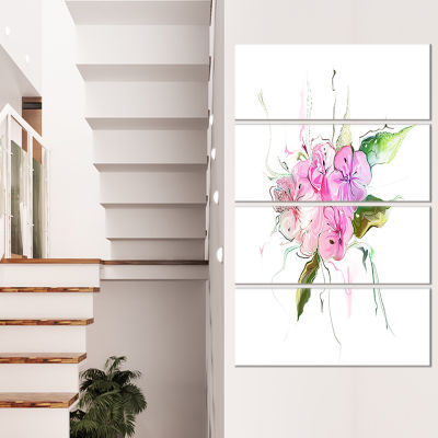 Pink Bouquet Of Pansies Large Animal Canvas Art Print - 4 Panels