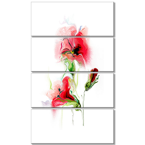 Designart Red Floral Watercolor Illustration LargeAnimal Canvas Art Print - 4 Panels