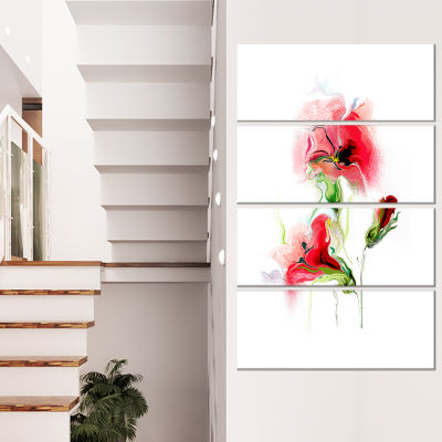 Red Floral Watercolor Illustration Large Animal Canvas Art Print - 4 Panels