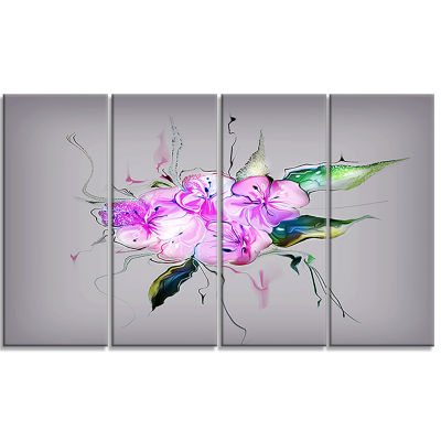Purple And Pink Pansies Flowers Large Animal Canvas Art Print - 4 Panels