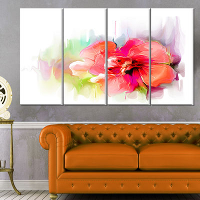Designart Beautiful Red Floral Watercolor FloralCanvas Art Print - 4 Panels