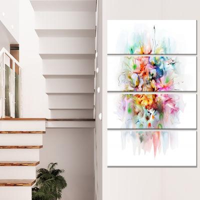 Design Art Bunch Of Watercolor Flowers Floral Canvas Art Print - 4 Panels