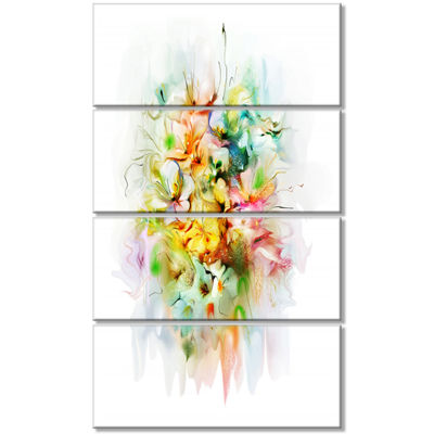 Designart Yellow Watercolor Flowers Floral CanvasArt Print- 4 Panels
