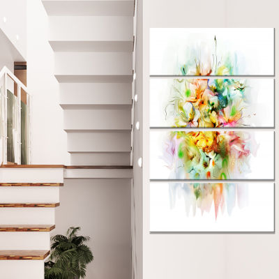 Designart Abstract Flowers In Vase Floral CanvasArt Print -4 Panels