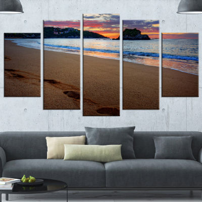 Trodden Sand On Ocean Beach Seashore Photo WrappedCanvas Art Print - 5 Panels