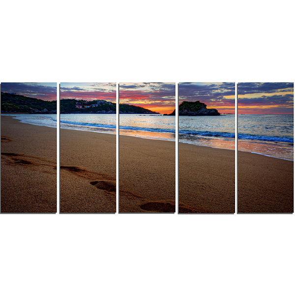 Design Art Trodden Sand On Ocean Beach Seashore Photo Canvas Art Print - 5 Panels