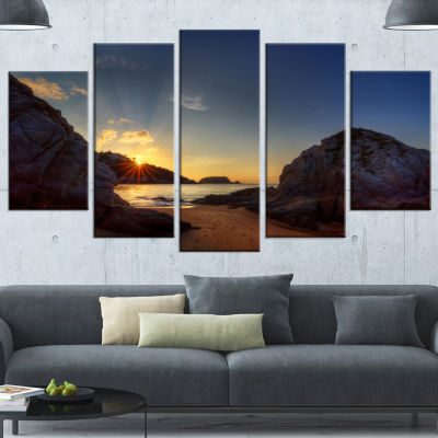 Hills In Beautiful Mountain Beach Extra Large Landscape Wrapped Canvas Art Print - 5 Panels