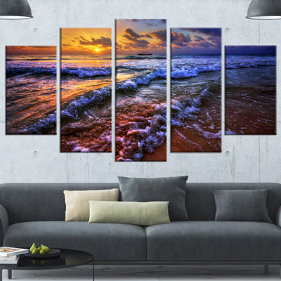 Designart Sunset Over Blue Tinged Waves SeashorePhoto Wrapped Canvas Art Print - 5 Panels