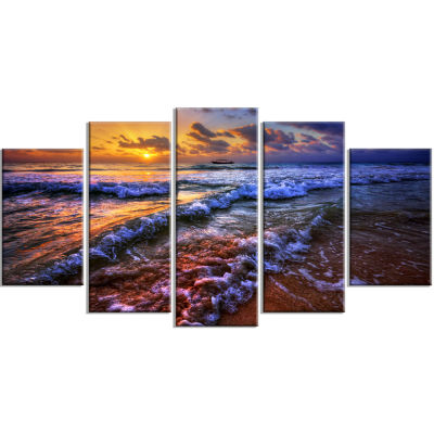 Sunset Over Blue Tinged Waves Seashore Photo Wrapped Canvas Art Print - 5 Panels