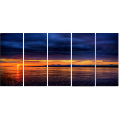 Blue Cloudy Sky And Setting Sun Seashore Photo Canvas Art Print - 5 Panels