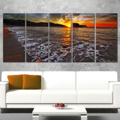 Setting Sun And White Waves Seashore Photo CanvasArt Print - 5 Panels