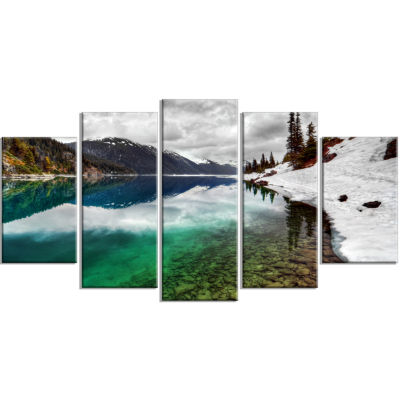 Clear Lake Pine Trees And Mountains Extra Large Landscape Wrapped Canvas Art Print - 5 Panels