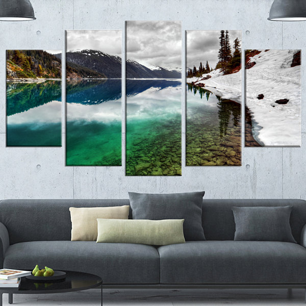Design Art Clear Lake Pine Trees And Mountains Extra Large Landscape Wrapped Canvas Art Print - 5 Panels