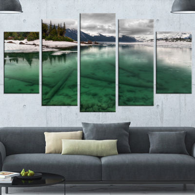 Designart Crystal Clear Lake And Mountains ExtraLarge Landscape Wrapped Canvas Art Print - 5 Panels