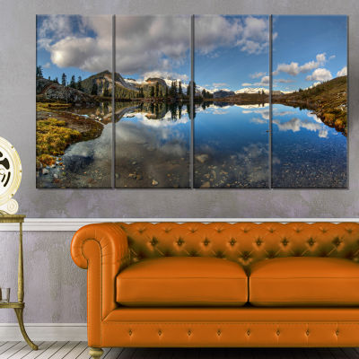 Clear Lake With Pine Trees Panorama Extra Large Landscape Canvas Art Print - 4 Panels