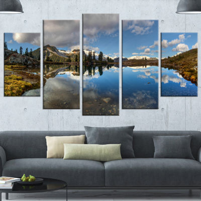 Designart Clear Lake With Pine Trees Panorama Extra Large Landscape Canvas Art Print - 4 Panels