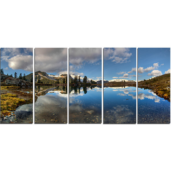 Design Art Clear Lake With Pine Trees Panorama Extra Large Landscape Canvas Art Print - 5 Panels