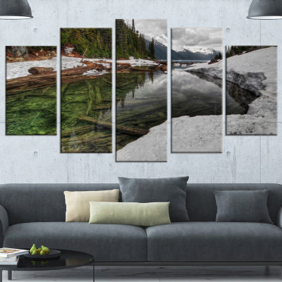 Designart Crystal Clear Lake With Pine Trees ExtraLarge Landscape Canvas Art Print - 4 Panels