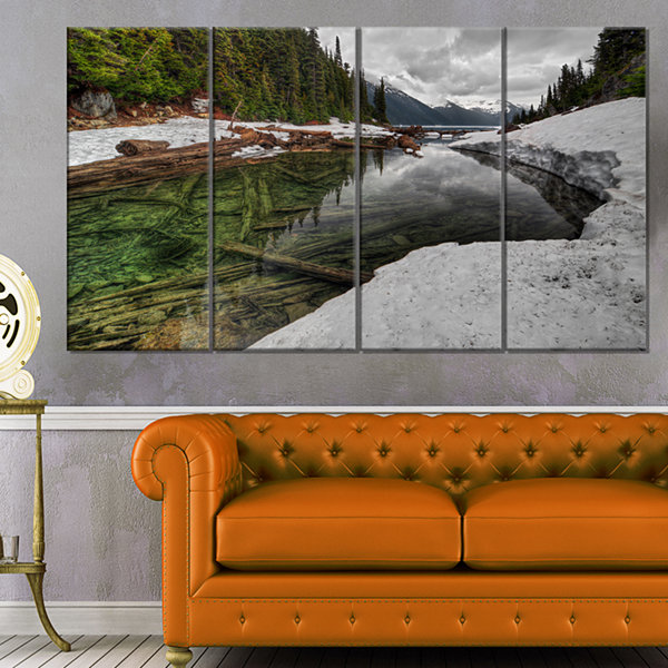 Design Art Crystal Clear Lake With Pine Trees Extra Large Landscape Canvas Art Print - 4 Panels