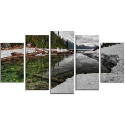 Crystal Clear Lake With Pine Trees Extra Large Landscape Wrapped Canvas Art Print - 5 Panels