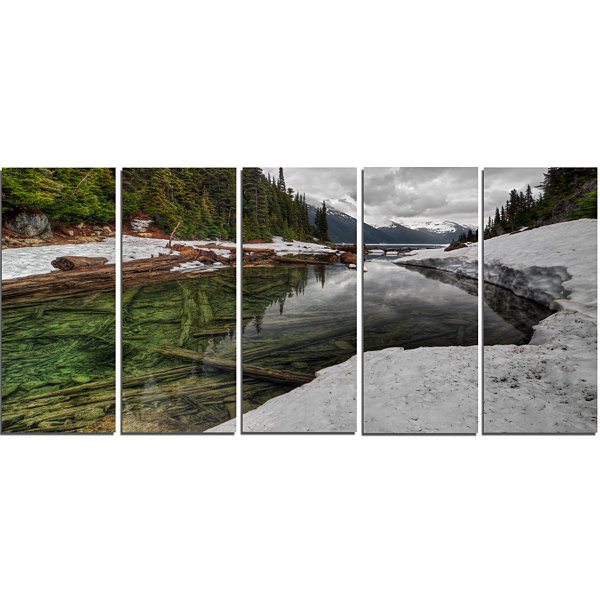Design Art Crystal Clear Lake With Pine Trees Extra Large Landscape Canvas Art Print - 5 Panels