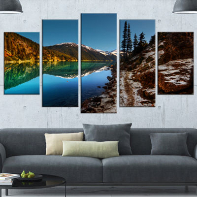 Designart Blue Clear Lake With Mountains Extra Large Landscape Canvas Art Print - 4 Panels