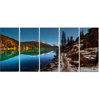 Blue Clear Lake With Mountains Extra Large Landscape Canvas Art Print - 5 Panels