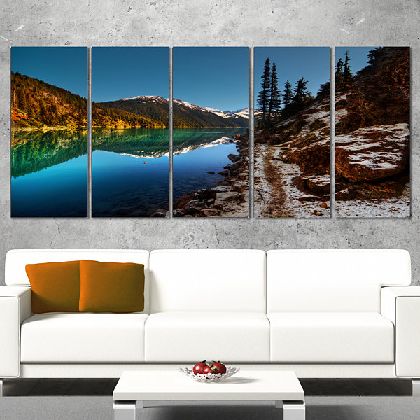 Designart Blue Clear Lake With Mountains Extra Large Landscape Canvas Art Print - 5 Panels