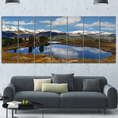Designart Lake With Pine Trees Reflecting Sky Extra Large Landscape Canvas Art Print - 5 Panels