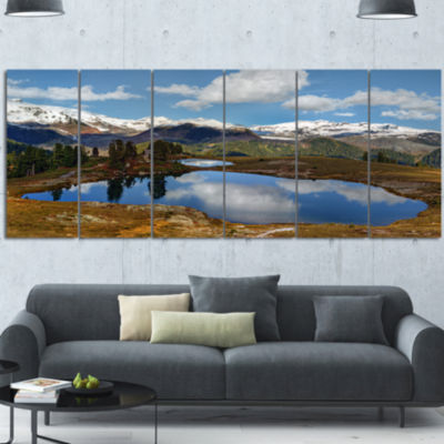 Lake With Pine Trees Reflecting Sky Extra Large Landscape Canvas Art Print - 6 Panels