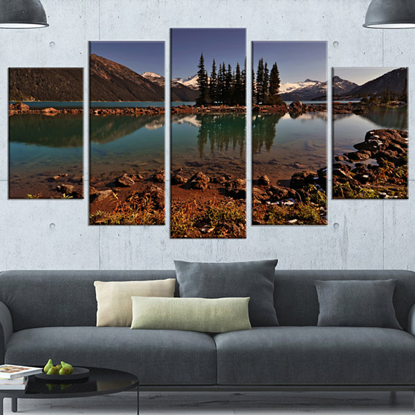 Designart Lake And Pine Trees In Evening Extra Large Landscape Canvas Art Print - 5 Panels