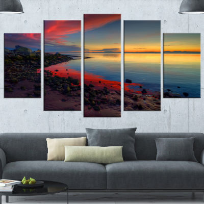 Blasts Of Color At The Sunset Seashore Canvas ArtPrint - 4 Panels
