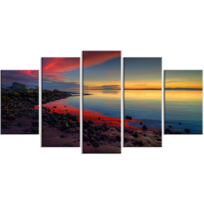 Designart Blasts Of Color At The Sunset SeashoreWrapped Canvas Art Print - 5 Panels