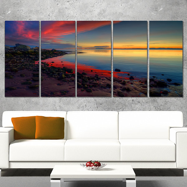 Designart Blasts Of Color At The Sunset SeashoreCanvas Art Print - 5 Panels