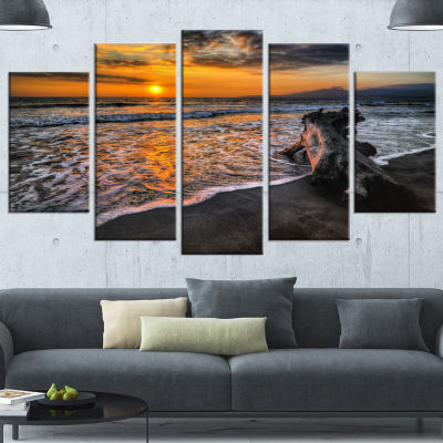 Designart Log On Beach During Sunset Seashore Wrapped Canvas Art Print - 5 Panels
