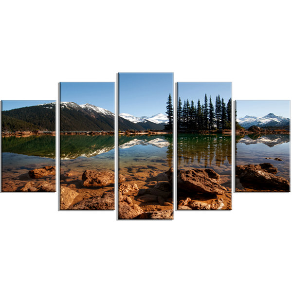 Designart Beautiful Clear Lake With Pine Trees Extra Large Landscape Wrapped Canvas Art Print - 5 Panels