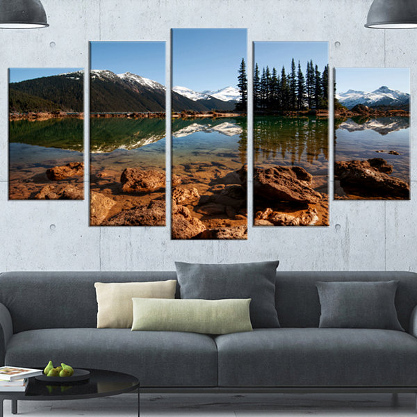 Design Art Beautiful Clear Lake With Pine Trees Extra Large Landscape Canvas Art Print - 5 Panels