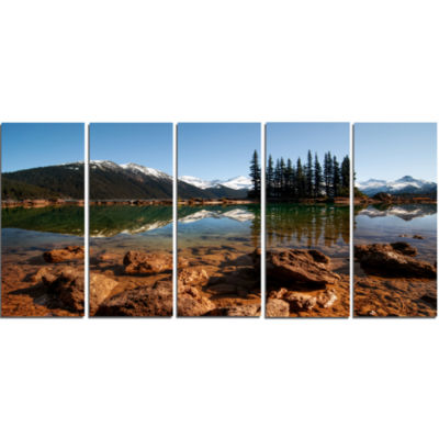 Beautiful Clear Lake With Pine Trees Extra Large Landscape Canvas Art Print - 5 Panels