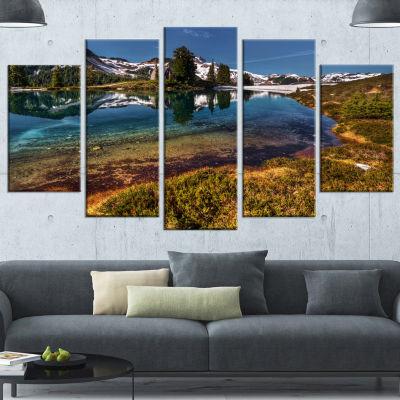 Designart Curving Mountain Lake Shore Extra LargeLandscapeCanvas Art Print - 4 Panels