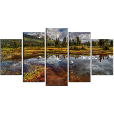 Clear Lake Mirroring Cloudy Skies Extra Large Landscape Wrapped Canvas Art Print - 5 Panels