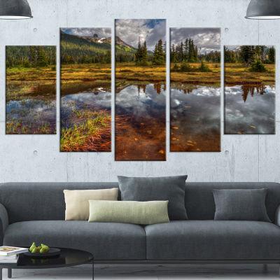 Designart Clear Lake Mirroring Cloudy Skies ExtraLarge Landscape Canvas Art Print - 5 Panels